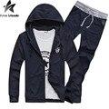 Alta qualidade 2 pcs dos homens jaqueta + calça homens da moda agasalho com capuz sportsuits 2016 clothing primavera outono definir hoodies hy116