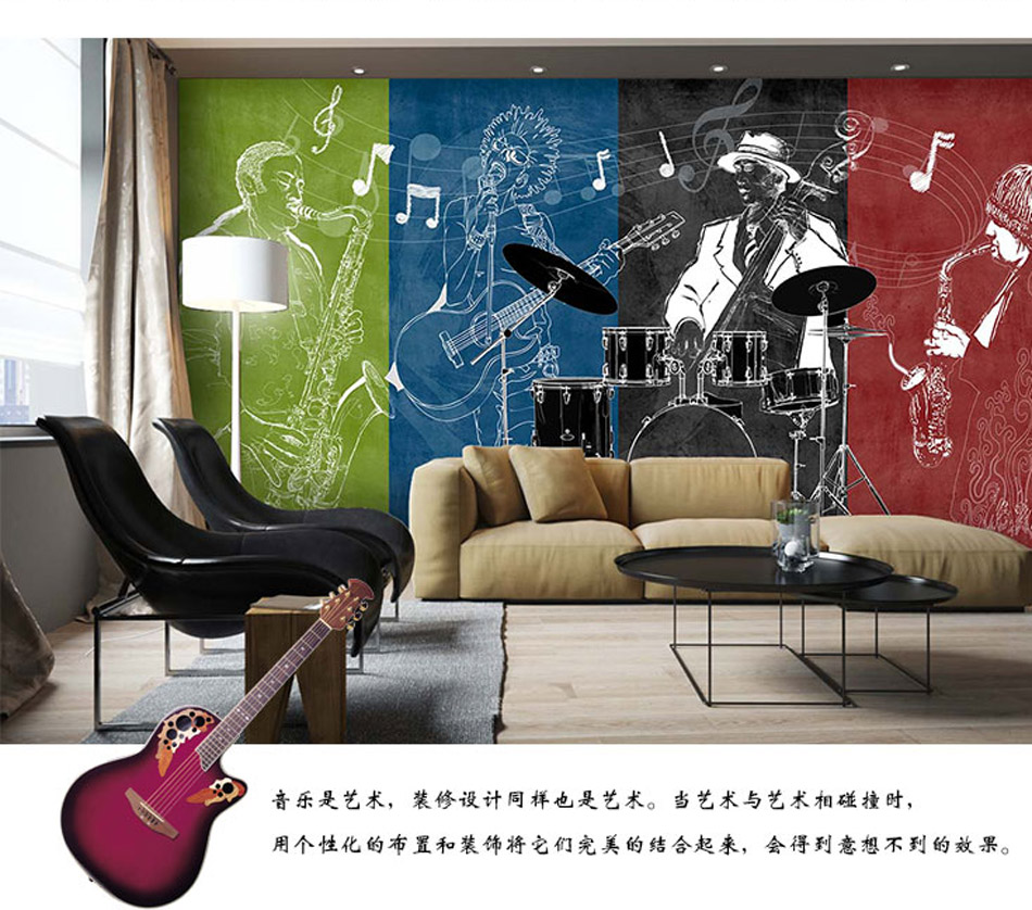 3d rock 39 n 39 roll music band instrument shop wallpaper mural rolls for hotel restaurant bar ktv. Black Bedroom Furniture Sets. Home Design Ideas
