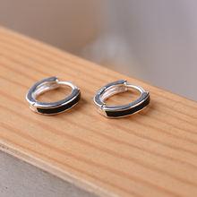 Круглые серьги с черной эмалью из стерлингового серебра 925