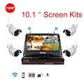 "Plug&Play 4CH Wireless Camera Surveillance System 10.1"" LCD NVR Kit HDD P2P 720P HD Outdoor IR WIFI CCTV IP Camera"