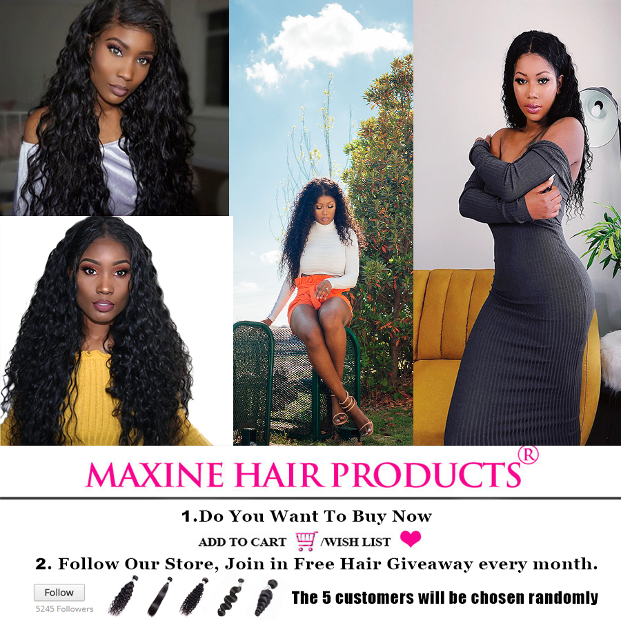 Maxine Hair 3 Bundles Brazilian Water Wave Pre Plucked Lace Frontal
