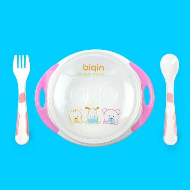 Best Selling Bacia de Alimentação Do Bebê Colher Folk Placa Pratos de Alimentação Do Bebê Crianças Conjunto de Talheres Prato Tigela Otário C01