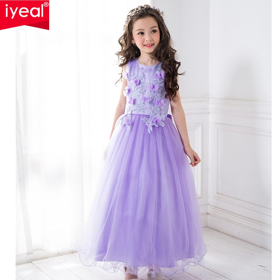 IYEAL Kids Dresses for Girls Clothes Purple Flower Princess Dress 2017 Girls Summer Dress Children Clothing Vestido Princesa girls europe the united states children princess long sleeved purple lace flower dress female costume kids clothing bow purple