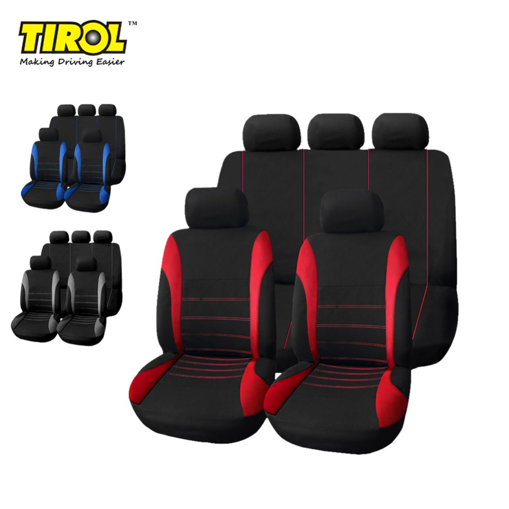 TIROL P3 Universal Car Seat Cover Set New Black Gray/RED 9 Pieces Seat Covers For Crossovers SUV Sedans Free Shipping