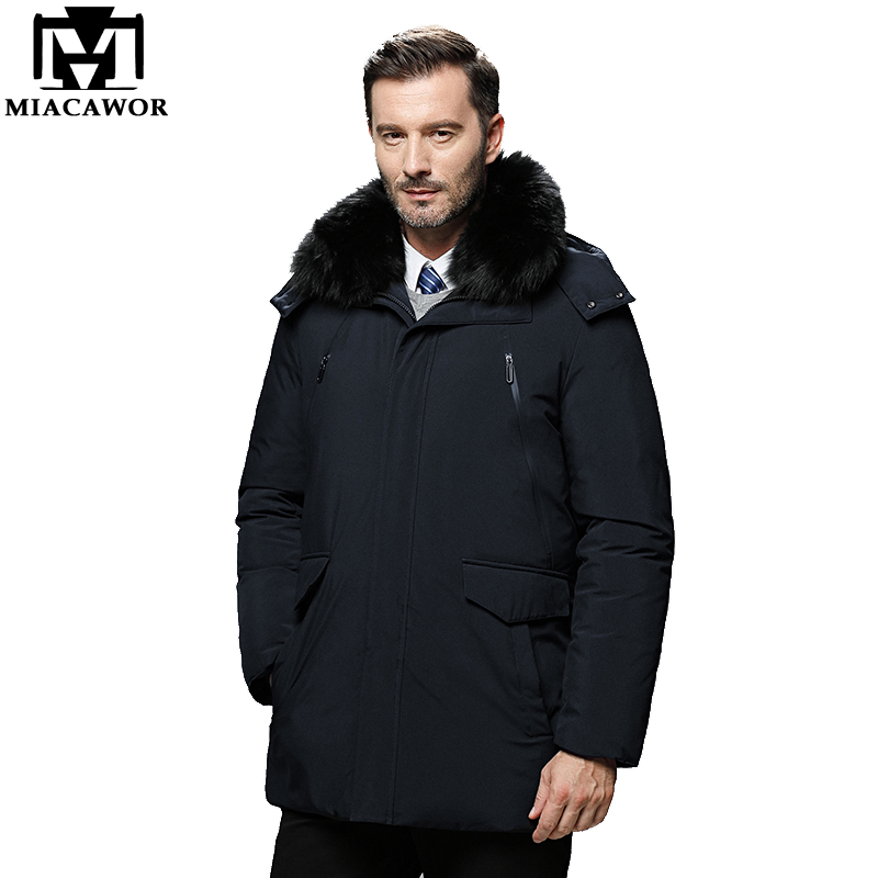 MIACAWOR High Quality Down Jacket Men 90% White Duck Down Coats Hooded Thick Warm Winter Jackets Casual Outwear Men Parka J577