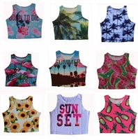 2015 Womens Summer Crop Tops Palm Tree Top Cropped Vintage Regata Feminina Sexy Low Cut Tops