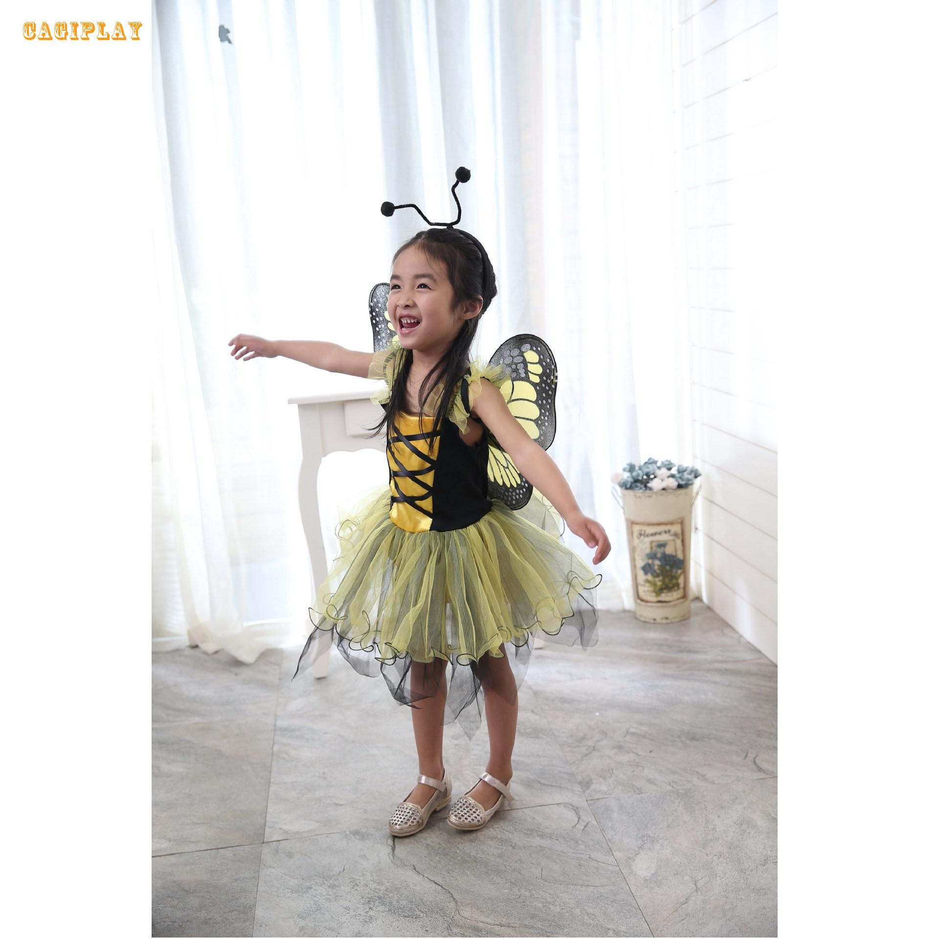 2018 New Deluxe Yellow Butterfly Fairy Princess Dress Girl Carnival Cosplay Clothing Halloween Costume For Kids Age 3-10 Years