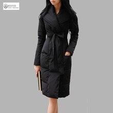 Новое поступление 2017 года женские зимнее пуховое пальто Теплая стеганая длинная верхняя одежда женский Пуховики на гусином пуху Дамская мода одежда 595