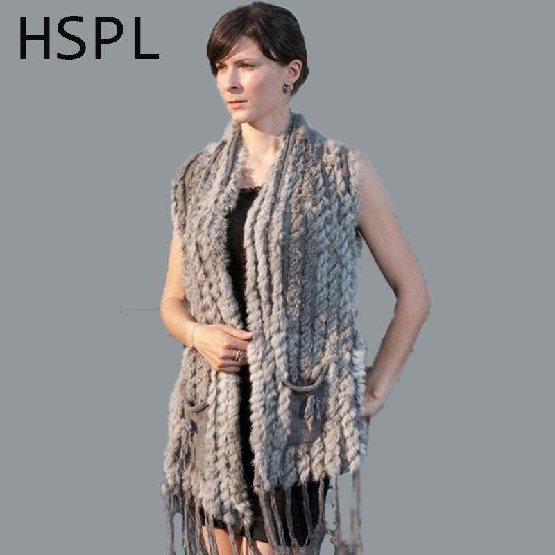 HSPL Knitted Fur Vest 2017 New Hot Sale Fashion Long Cashmere Knitted Real Fur Tassel Pocket Rabbit Vest colete feminino franjas