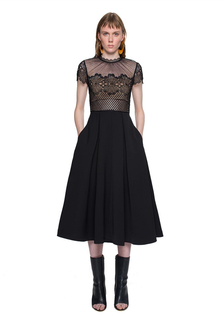 4c2bfccecc 2016 Vintage Self Portrait Felicia embroidery Midi Dress Black Lace Mesh  Pleated A Line Long dress