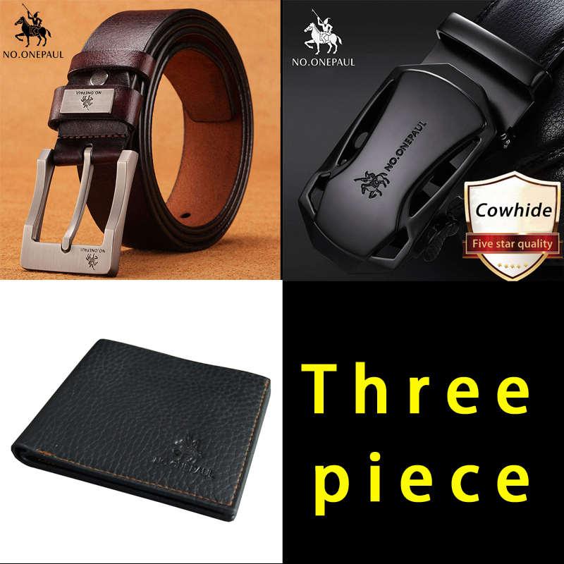 NO.ONEPAUL leather   belt   men male genuine leather pin buckle and Automatic buckle   belts   Luxury brand Men's   belt   3pcs   belts