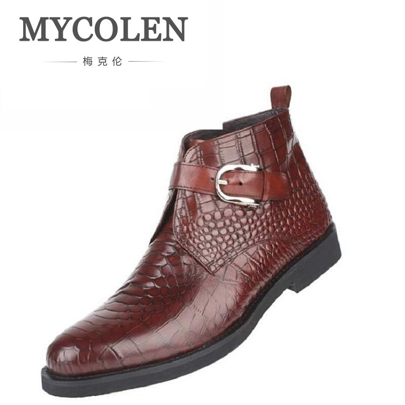 MYCOLEN Light Luxury Brand Autumn And Winter New Men's Head Leather Boots, Europe And The United States Trend Of Individual Bus мужские часы fossil jr1356