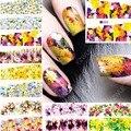 2017 Belleza 12 hojas Colorful flower Designs Nail Art Transferencia de Agua Stickers Decals completa Accesorios de Uñas de manicura herramientas 060