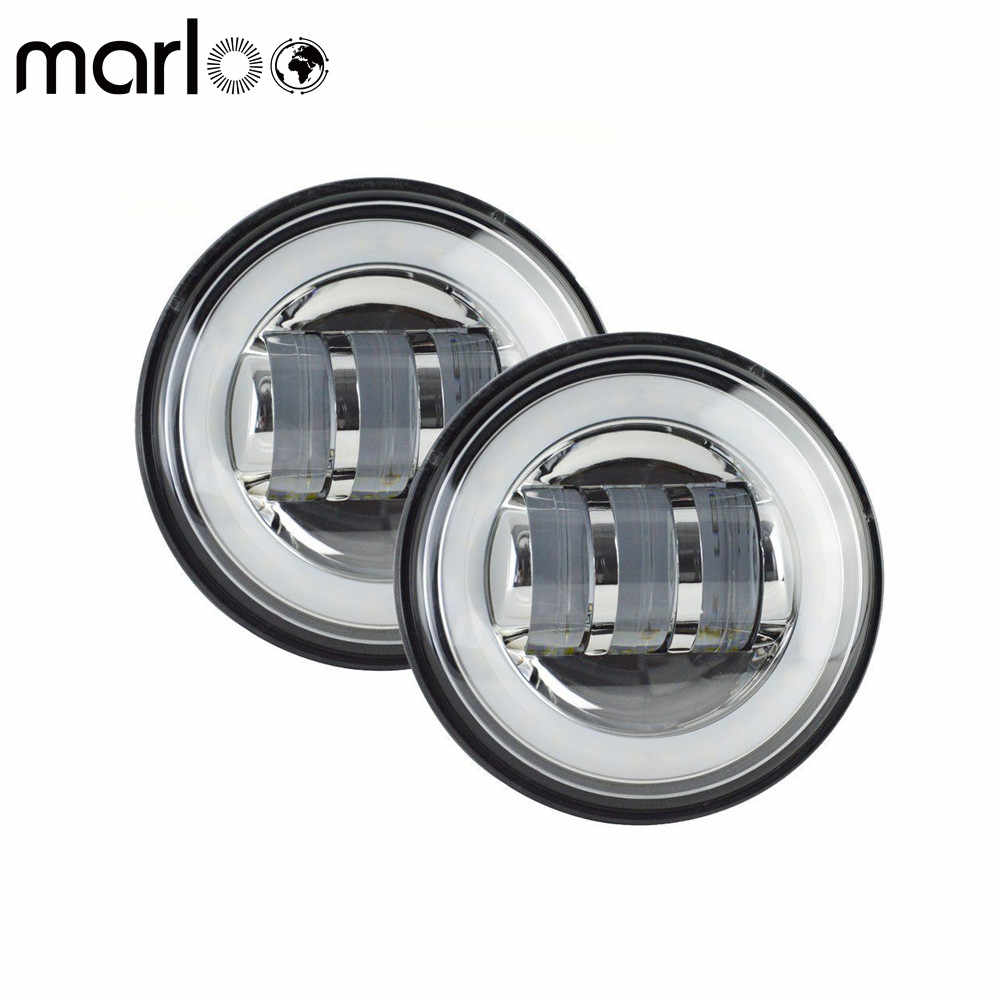 "Marloo 2pcs Motorcycle 4 1/2"" 4.5 Inch LED Fog Light Passing Auxiliary Lamps White Halo Ring"