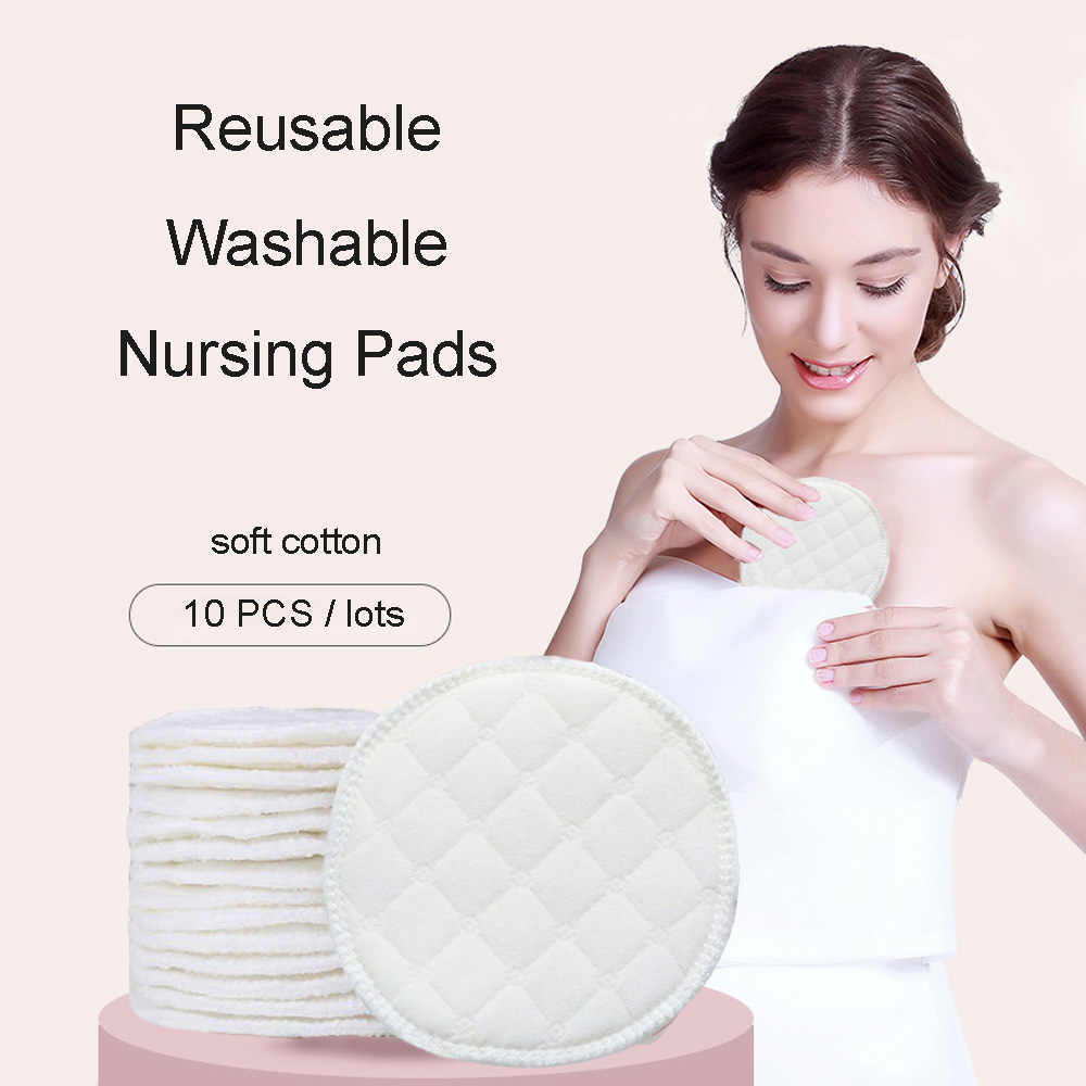 10pcs Baby Feeding Nipple Pads Washable Nursing Pad Soft Absorbent Reusable Nursing Anti-overflow Maternity Breast Pad Accessory