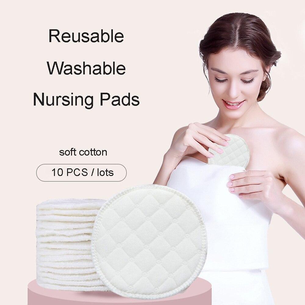 10pcs Baby Feeding Nipple Pads Washable Nursing Pad Soft Absorbent Reusable Nursing Anti-overflow Maternity Breast Pad Accessory