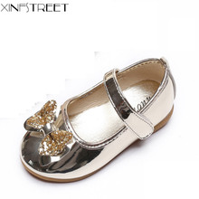 Xinfstreet Children Shoes Princess Girls Size 21-36 Cute Bowtie Dress Pu Kids Flats For