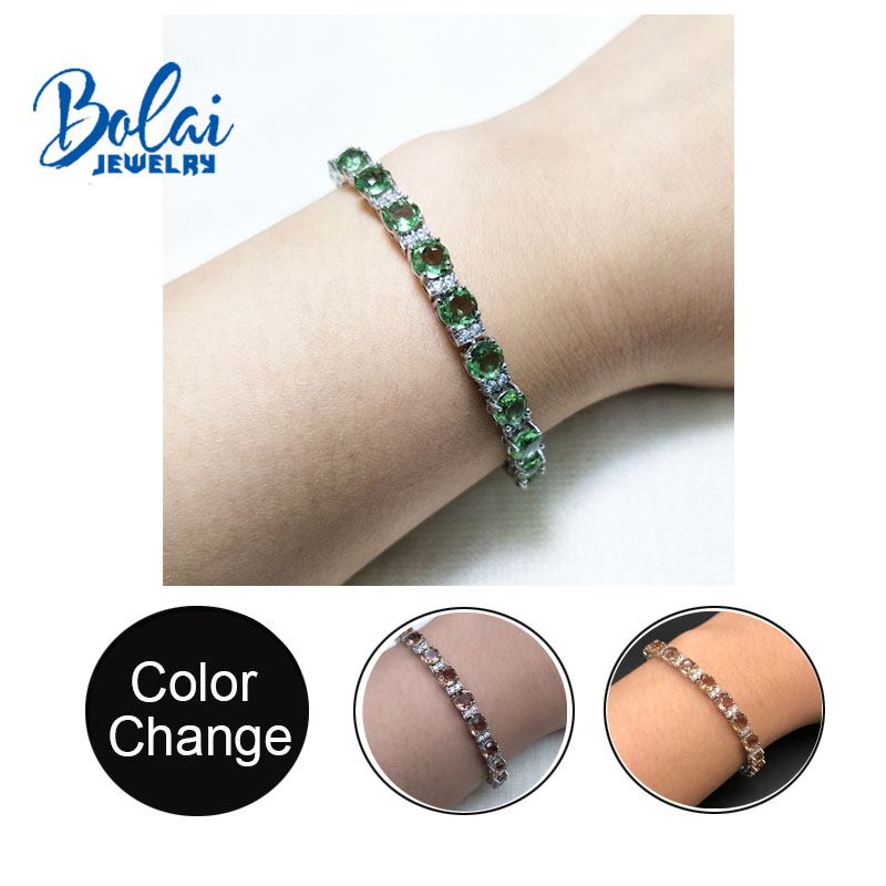 Bolaijewelry,925 sterling silver bracelet with amazing color change created zultanit diaspore fine jewelry for girls nice gift