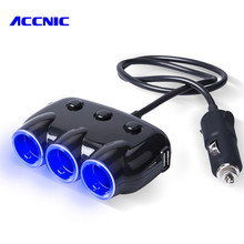 Dual USB Port 3 Way 3.1A Blue Led Car Cigarette Lighter Socket Splitter Hub Power Adapter 12V-24V For iPad Smartphone DVR GPS(China)