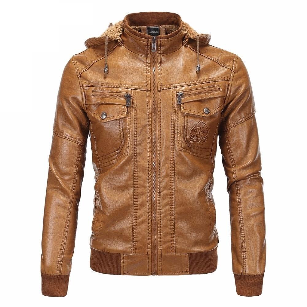 Moda para hombre Vintage engrosamiento PU chaqueta de cuero de los hombres de la motocicleta otoño invierno diseñador famoso de la marca para hombre Slim Fit abrigo caliente