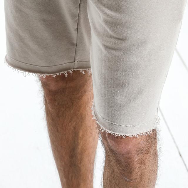 Men's Jogger Shorts Knee Length Raw Hem Drawstring