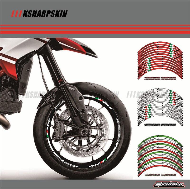 12 X Thick Edge Outer Rim Sticker Stripe Wheel Decals FIT All DUCATI HYPERMOTARD 939 796