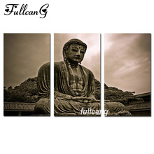 FULLCANG Full Square Diamond Embroidery Buddha Triptych Diy 5D Painting Cross Stitch Mosaic Arts Decorative F883