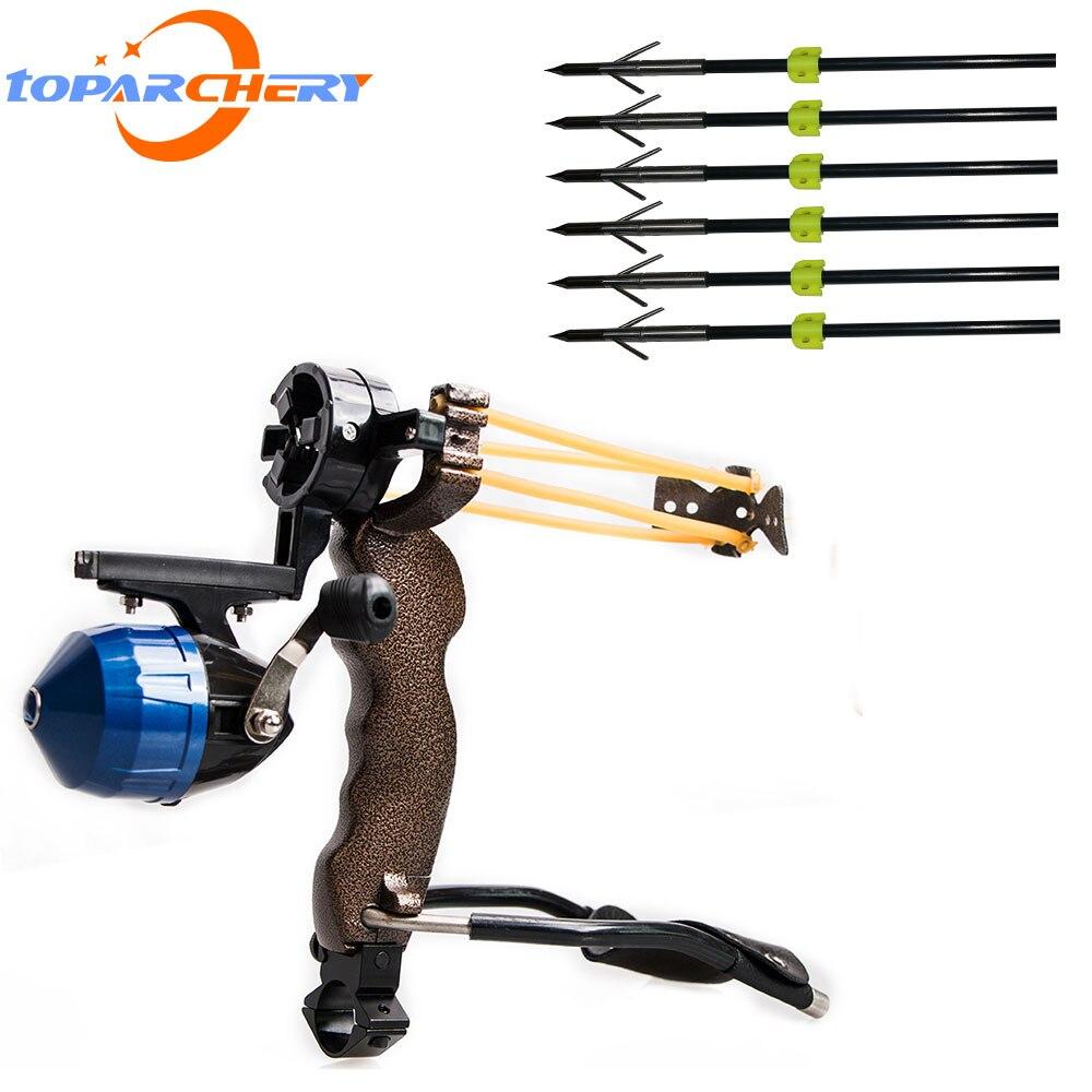 Puissante fronde de pêche 6 pièces flèche cible professionnel chasse tir à l'arc catapulte arc flèche extérieure 8mm flèches