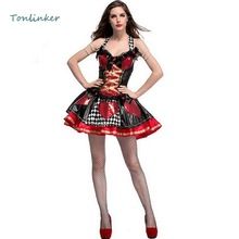 Halloween Sequin Poker Red Heart Queen Sexy Costumes Carnival  Game Adult Womens Party Costume Dresses