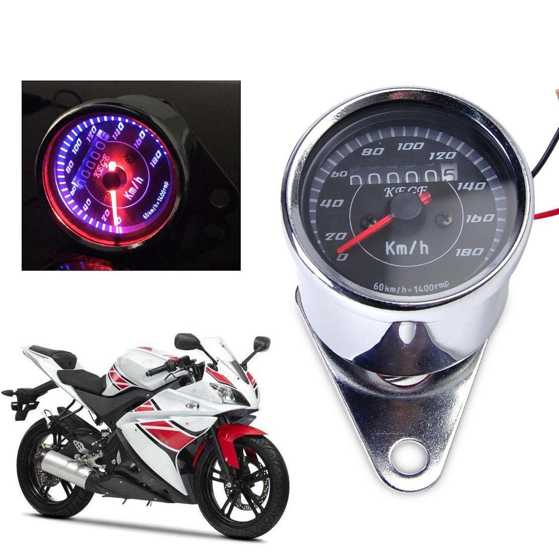 Universal Black Motorcycle Dual Odometer Speedometer Gauge Meter Backlight New#