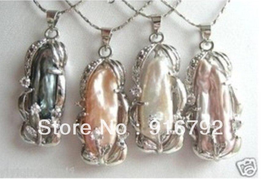 d80b5a9e176d Envío libre  4 sets colores Biwa perlas de agua dulce colgantes collar