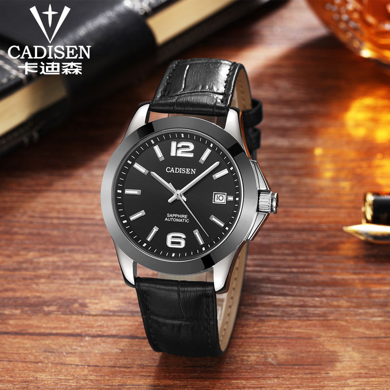 Image 2 - Mens Watches CADISEN Classic AUTO Date Automatic Mechanical Watch  Analog Skeleton Black Leather Man Black ceramic WristwatchMechanical  Watches