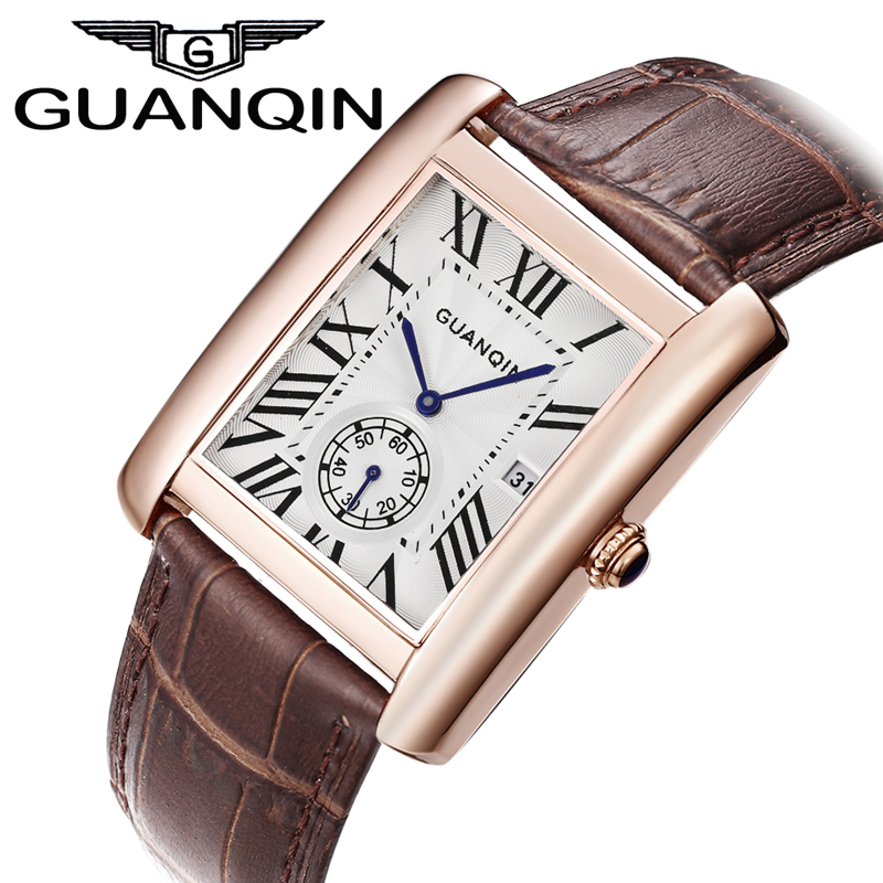 ФОТО 2016 New Fashion GUANQIN Casual Watches Men Rectangle Dial Waterproof Leather Strap Brand Watches for Men watches relojes hombre