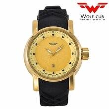 Original design personalized sports gold watch man dial Wolf head Rhinestone Japan original calendar movement USA Wolf-cub