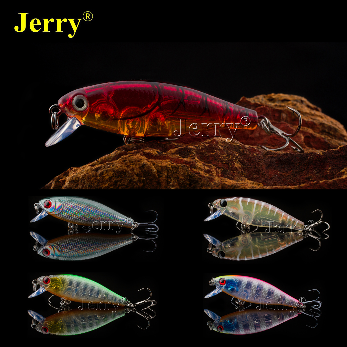 Jerry 1pc Japan crank bait minnow 5cm/2in 4.8g BKK hook wobbler slow sinking plug crankbait fishing hard lure