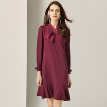 Dress Women 2019 Spring Summer New French Style Vintage Fashion V-Neck Bow Wrist Length Sleeved Solid Color Ruffled Dress Female stylish scoop neck solid color ruffled sleeves dress for women