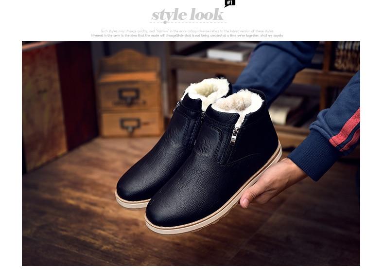 2018 Männer Winter Warme Stiefel Casual Schuhe Männer Mode Plüsch Schnee Stiefel Stiefeletten Pelz Leder Schuhe Gut Verkaufen Auf Der Ganzen Welt