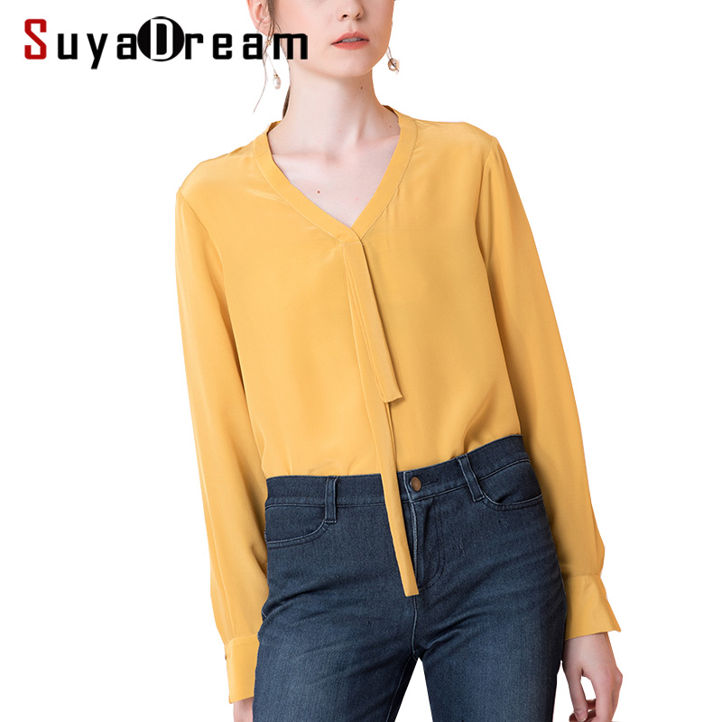 Women Silk   blouse   100% REAL silk crepe Long sleeved Office lady   blouse     shirt   V neck 2018 Fall Winter   shirt