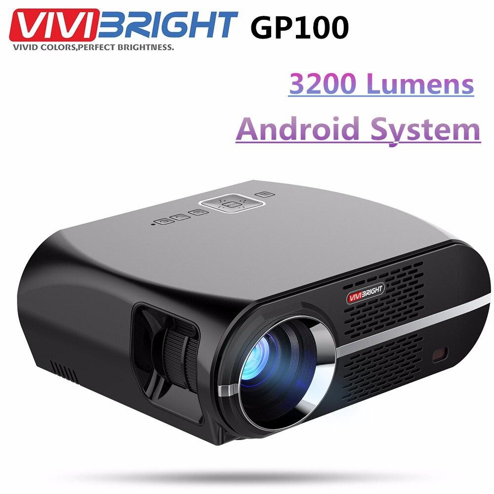 VIVIBRIGHT gp100 Android-проектор Full HD 3200 люмен 1080 P WI-FI bluetooth led ЖК-дисплей дома Театр Кино видеопроектор proyector