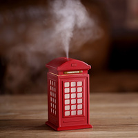 DC 5V USB Air Humidifier Aromatherapy Essential Oil Diffuser With LED Light Telephone Booth Shape Ultrasonic