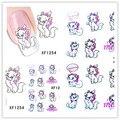 1 Aheet XF1254 Estilo de Dibujos Animados de Transferencia de Agua de Diseño Lindo Gatos Uñas Tip Nail Art Sticker Decal Manicura Herramientas