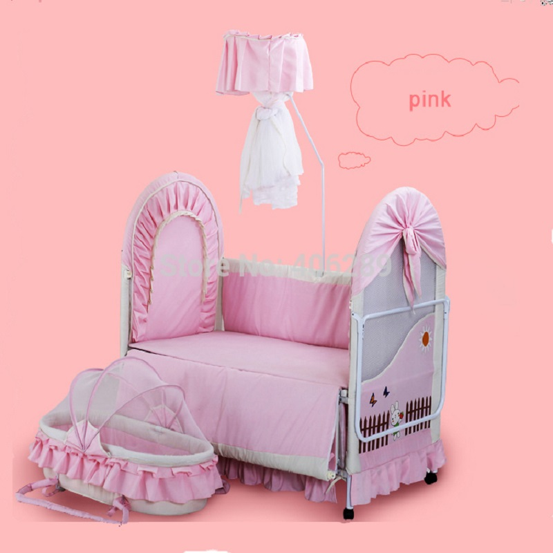 High quality export  Baby Bed 0~12 years old no smell  Iron baby cradle Child Bed send 7pcsBaby Bedding Set total quality 500g 12 years old gaoli
