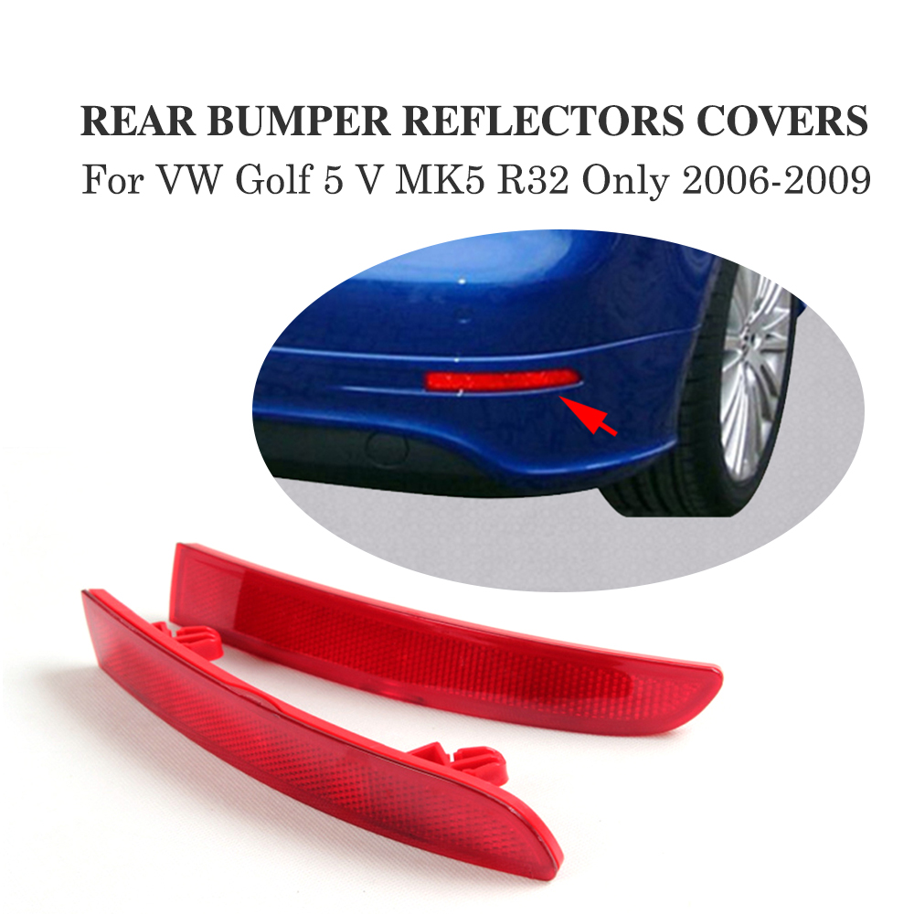 2PCS/Set ABS Rear Bumper Red Reflective Reflector Covers for Volkswagen VW Golf 5 V MK5 R32 Only 2006-2009 Car Accessories lace up ribbed striped sweater