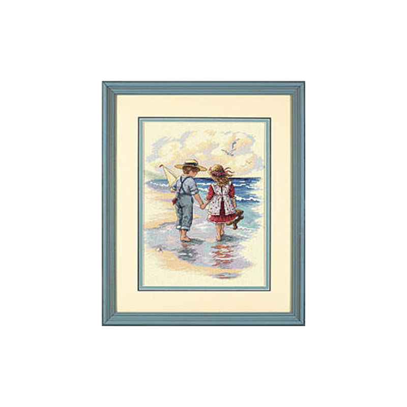 2017 Newest High Quality Unprinted Unfinished 14ct Counted Cross Stitch kits, Holding Hands Boy And Girl Seaside Partners 12*15