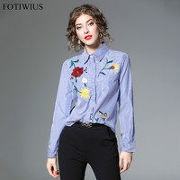 Floral Embroidery Female Blouse Shirt Casual Blue Striped Shirt 2018 Spring Autumn Elegant Long Sleeve Blouse Women Tops Blusas