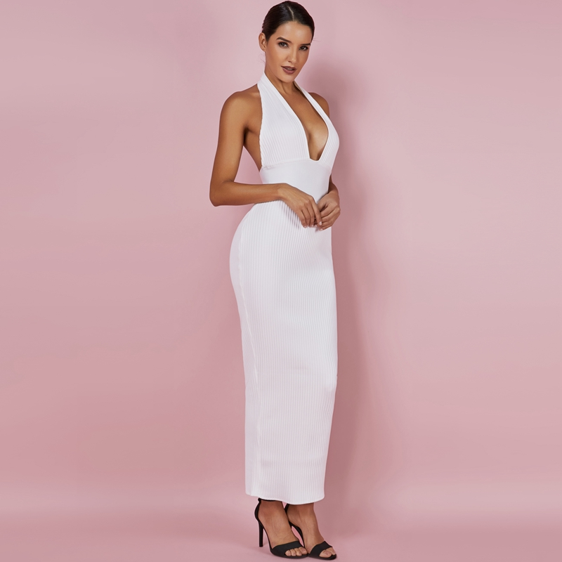 dcc06cdfcf13f Ocstrade Womens Sexy Bandage Dress 2019 Club Wear Summer Backless White  Bodycon Dresses Hollow Out Vneck Long Maxi Bandage Dress ~ Free Shipping  June 2019