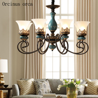 American Antique Iron Chandelier living room bedroom lamp European classical design simple glass chandelier free shipping