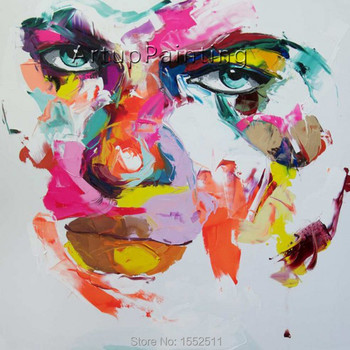 Palette knife painting portrait Palette knife Face Oil painting Impasto figure on canvas Hand painted Francoise Nielly 15-14