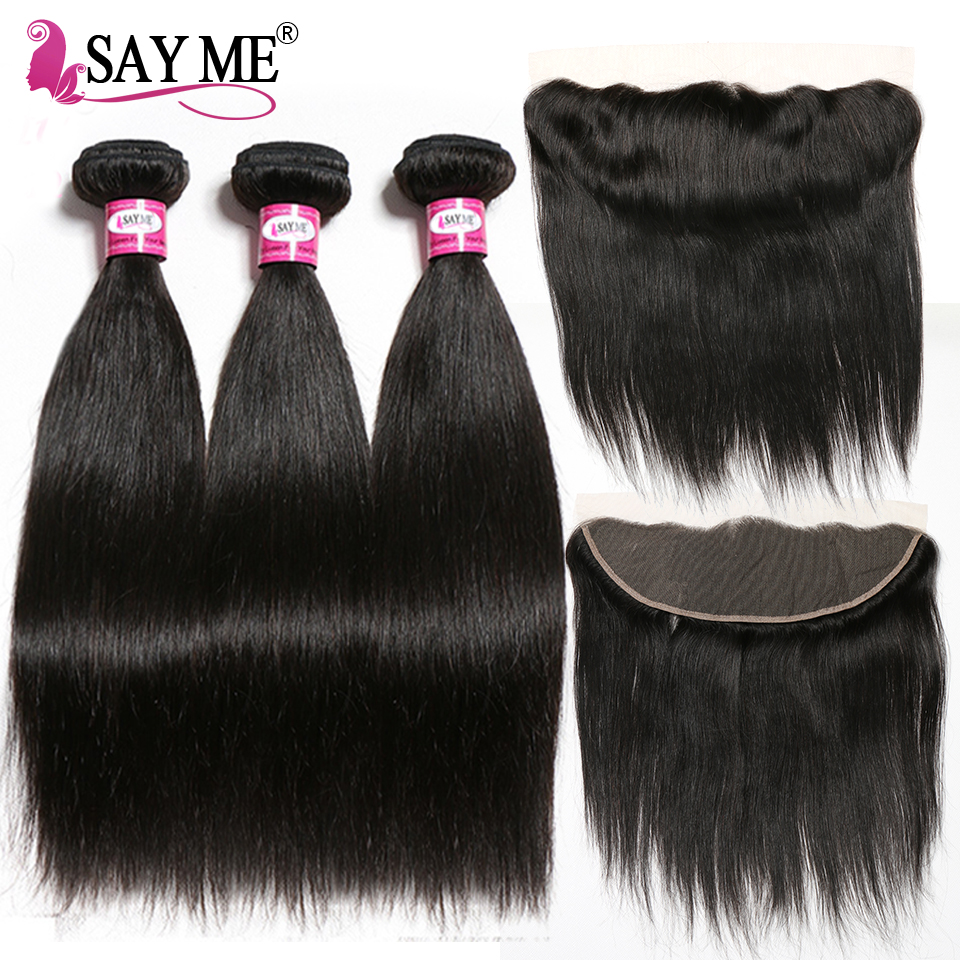 13 4 Lace Frontal Closure With Bundles Straight Hair Bundles With Closure Remy Weave Brazilian Human