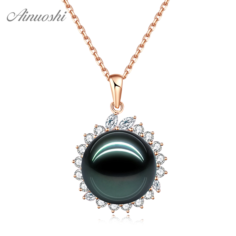 AINUOSHI 18K Gold Black Tahiti Pearl Pendant 18K White Gold/Yellow Gold/Rose Gold Diamond Pendant Jewelry Gift Separate Pendant AINUOSHI 18K Gold Black Tahiti Pearl Pendant 18K White Gold/Yellow Gold/Rose Gold Diamond Pendant Jewelry Gift Separate Pendant